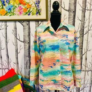 Vintage Pastel Hippie Boho Abstract Button Shirt